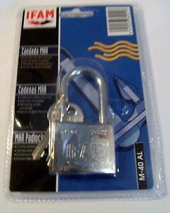 Marine Padlock 40mm Long Shackle Ifam Brand  Salt Spray Tested Blister Pk 2 keys