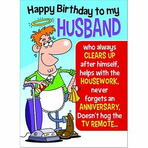 Doodlecards Funny Husband Birthday Card - Medium