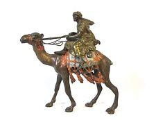 Antique Orientalist Vienna bronze cold painted arab bedouin on a camel (#949)