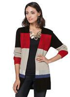 Versatile Open Front Longline Colour Block Stripe Knitted Cotton Cardigan