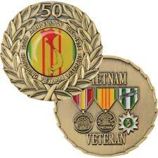 "50TH ANNIVERSARY VIETNAM VETERAN 3 MEDAL BRONZE WREATH 1.75"" CHALLENGE COIN"