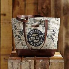 Adventurers Shoulder Tote Handbag Purse Flag Blue/Creme Canvas Bella Taylor