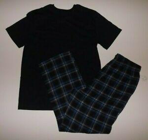 NAUTICA Sleepwear Set Black Shirt Blue Plaid Flannel Pants Sz M Medium Mens NEW