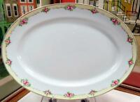 "ANTIQUE NIPPON PINK ROSES WITH YELLOW BAND 13 5/8"" OVAL PLATTER 1891-1921"