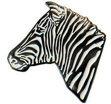 Zebra African Wild Animal Equid Metal Enamel Badge 30mm