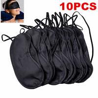 Hot Fashion 10Pcs Sleeping Eye Mask Blindfold Shade Travel Sleep Aid Cover Black