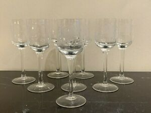 Vintage Set of 8 Etched Glass Liquor Cordial Stem Glasses
