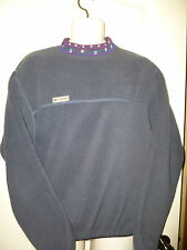 Retro Vintage COLUMBIA BERBER Fleece Pull over AZTEC Collar~ BLUE Men's Small
