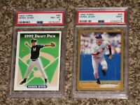 Derek Jeter 1993 Topps RC + 1999 Topps PSA 8 9 MINT 2 Card Bundle Lot HOF NYY