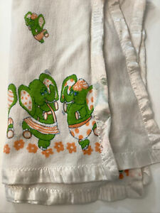 """Vintage Green Elephant Baby Blanket 44""""X34"""" Cotton With Silky Binding 60s"""
