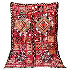 Old Vintage Moroccan Handmade Boujad Boujaad Beni ourain carpet Rug 5.5 X 7.4 ft