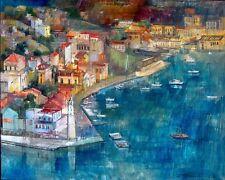 """Symi Island of Greece"" by ALEX ZWARENSTEIN! Hand Signed Original Oil Painting!"