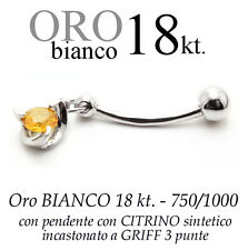 Piercing ombelico belly ORO BIANCO 18kt.pendente CITRINO giallo griff 3 punte