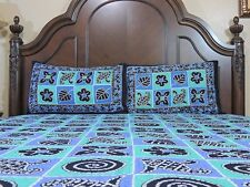 Decorative Cotton Print Bedsheet Indian Blue Bedding 3P Quality Bedroom Linens