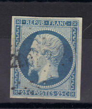 NAPOLEON N°10  25 c bleu  signé Geobel obli  PC  , sans aminci, sans charniere.