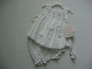 Baby Girl's Bonnie Baby  3 Pc White Outfit Sz 3-6   NWT