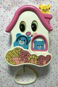 Vintage 1980 TOMY Pull String Musical Crib Toy Lullaby Pink House Teddy Bears