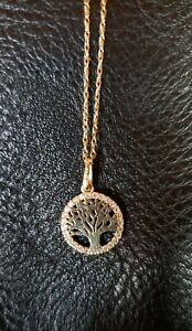 14kt gold necklace fine lightweight chain with tree of life pendant cz halo $169