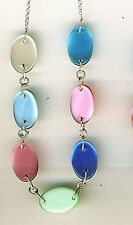 """925 Sterling Silver Multi Colour Stone Necklace Length 16"""" 407mm  Agate, M O P ?"""