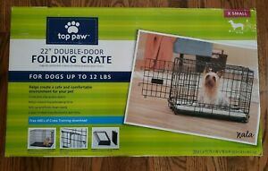 Top Paw 22'' Double Door Folding Crate For Dogs Up To 12 LBS