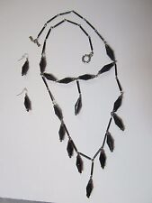 Black Faceted Double Cone Necklace with Earrings