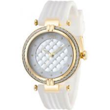 Invicta Perno De Reloj De Mujer Oro Amarillo Caso Blanco Correa De Goma 28943