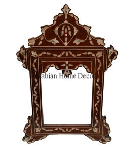 Unique Handcrafted Moroccan Mother of Pearl Inlaid Wood Mirror Frame