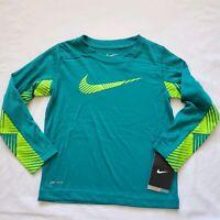 Nike Long Sleeved Boys Shirt, Size 4, 6, 7, Emerald Green, Dri Fit, Gift