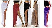 Womens Sexy Womens High Waist Long Maxi Dress Side Split Slit Maxi Midi Skirt