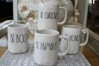 """RAE DUNN MAGENTA """"BE BOLD / BE CURIOUS / BE HONEST / BE HUMBLE"""" COFFEE MUGS-4PC"""