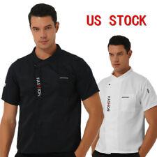 Us Mens Chef Uniform Short Sleeve Jacket Coat Kitchen Restaurant Cooker Workwear