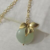 Grüne Jade & wilde Orchidee Anhänger-Kette Collier 585 14K Gold GF Blume Blüte