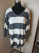 Joie Sweater Long Sleeve Striped Gray White Cashmere Blend Size Medium M