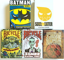NICE LOT OF 5 BICYCLE COLLECTABLE ZOMBIE PLAYING CARDS & MORE PLUS BATMAN CARDS