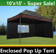 10'x15' Enclosed Pop Up Canopy Party Folding Tent - Black Flame - E Model