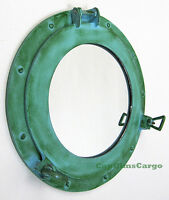 "Ship's Cabin Porthole Mirror 15"" Aluminum Green Finish Round Nautical Decor New"