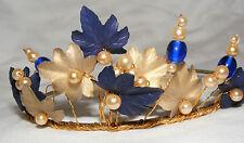 Bonito Rhapsody Dama de Honor Boda Tiara Diadema Azul, Bronce Visera y Perlas