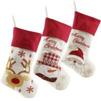 Lovely Christmas Stockings Set of 3 Santa, Snowman, Reindeer, Xmas Characte G4O8