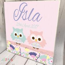 KIDS DOOR SIGN NURSEY Wooden Name Plaque Personalised Baby Girl Two Owl Pink