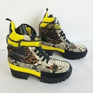 DOLLS KILL Yellow Mixed Animal Print Combat Boots Psy Alt Rave Chick UK Size 7
