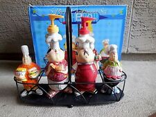 Bbq Condiment Set 5 Piece Metal Caddy Outdoor Cooking & Eating Picnic Ware New