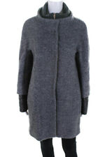 Herno Womens Button Down High Neck Coat Gray Wool Blend Size EUR 44