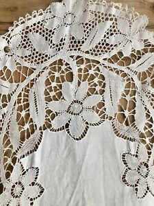 Antique French LONG DAMASK LINEN table runner FLORAL FILET LACE  c1920