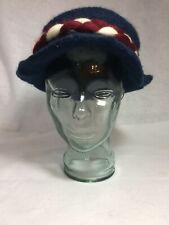 Women's Wool Felt Handspun Women's Blue Hat Red White