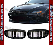 For BMW 04-10 E64 E63 6-Series All Dual Line Style Front Grille Set Shiny Black