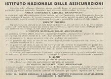 Z1092 Istituto Nazionale delle Assicurazioni - Pubblicità d'epoca - 1934 Old ad
