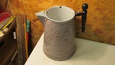 Antique Graniteware Coffee Pot Brown & White Relish Pattern