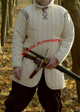 Medieval thick padded White Gambeson with laced Removable Sleeves Armour