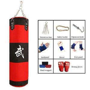 EVOLVE 9 Piece Boxing Set 3ft, 4ft Heavy Unfilled Punch Bag Glove Kick Training