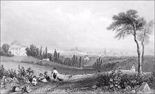 BELGIQUE: BRUXELLES vue de LACKEN au 19e siècle - Gravure dite sur acier du 19e